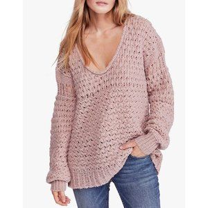 Free People Crashing Waves Pullover Mauve Size Med